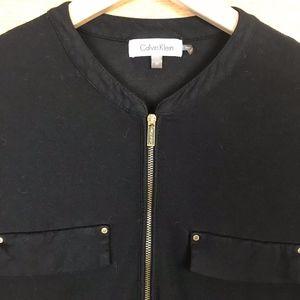 CK Black 3/4 Sleeve / Zip Blouse
